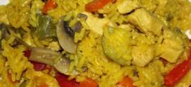 Paella de verduras, emplatado