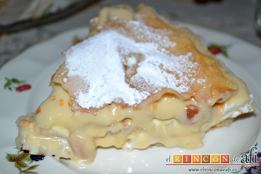 Pastela, cortar en porciones y servir