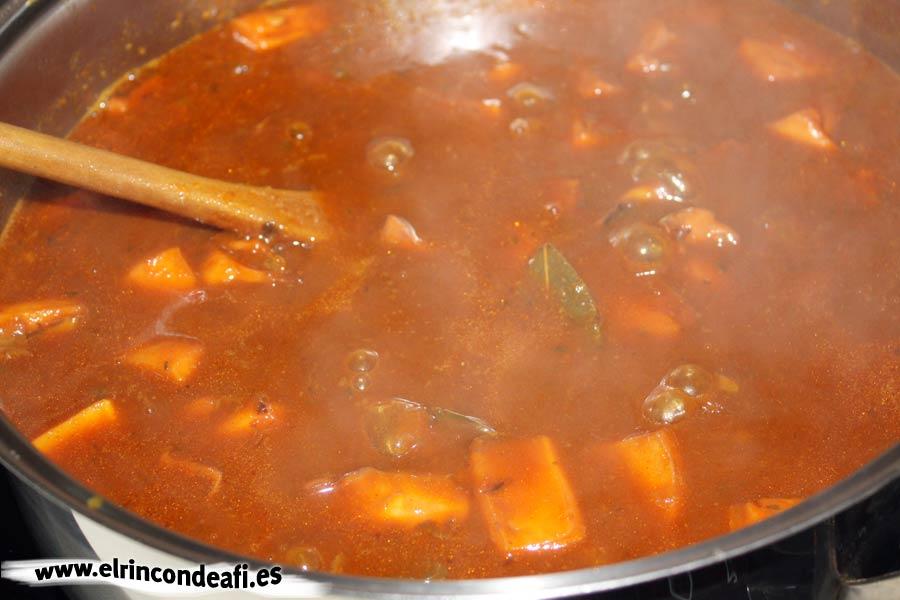 Pota en salsa, preparación