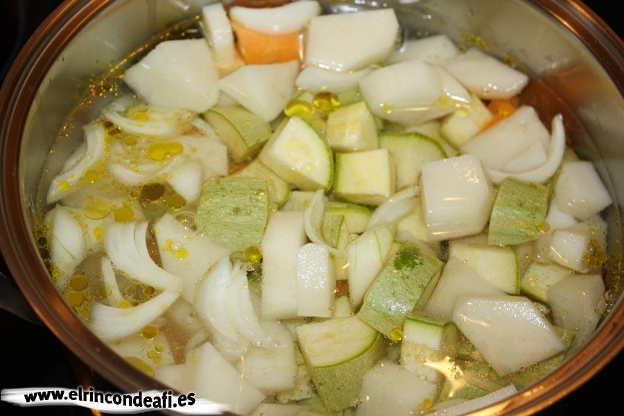 Crema de verduras, trocear las verduras