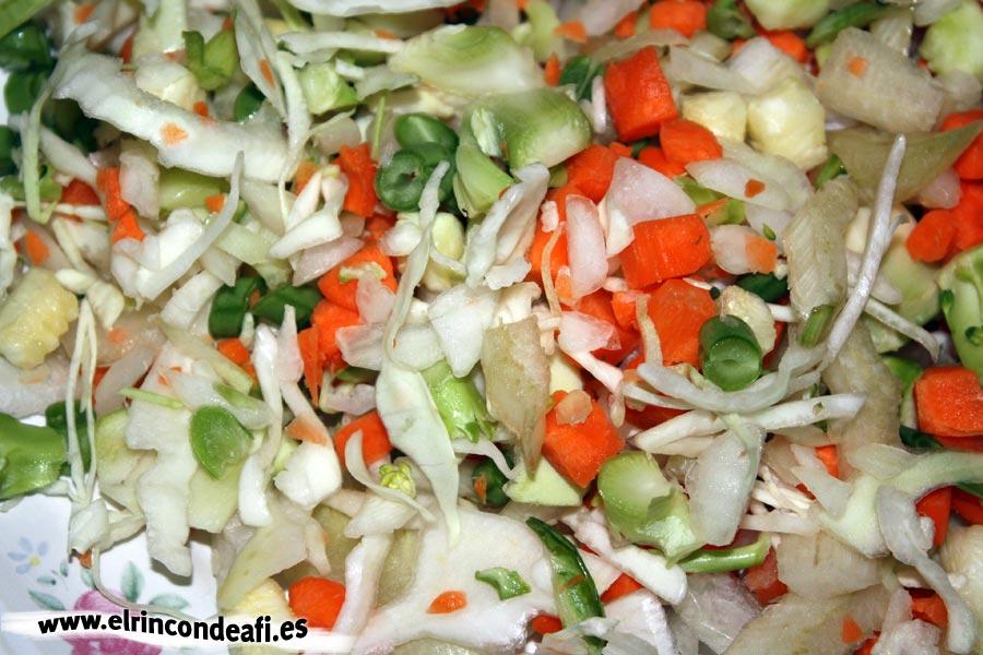 Sopa minestrone, verduras
