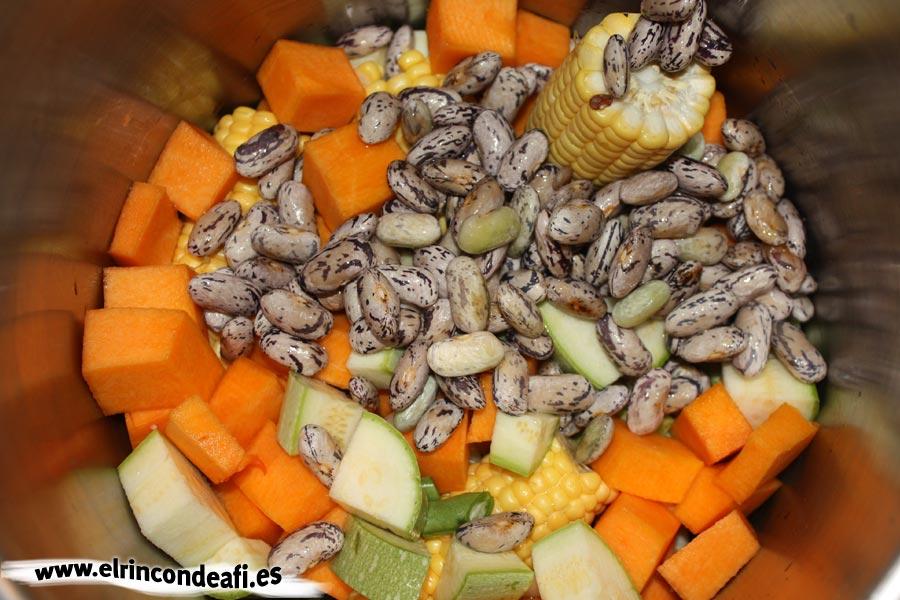 Potaje de verduras, añadir los ingredientes en una olla