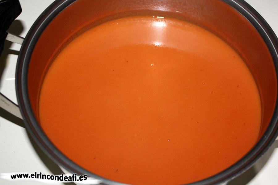 Vena en salsa, triturar la salsa