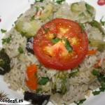 Arroz con verduras, emplatado
