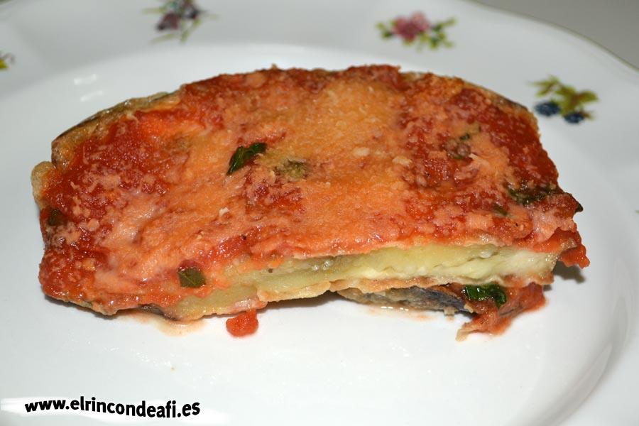 Parmigiana de berenjenas, presentación
