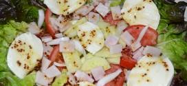 Ensalada de lechuga hoja de roble con queso mozzarella