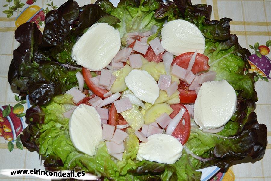 Ensalada de lechuga hoja de roble con queso mozzarella, disponer los ingredientes