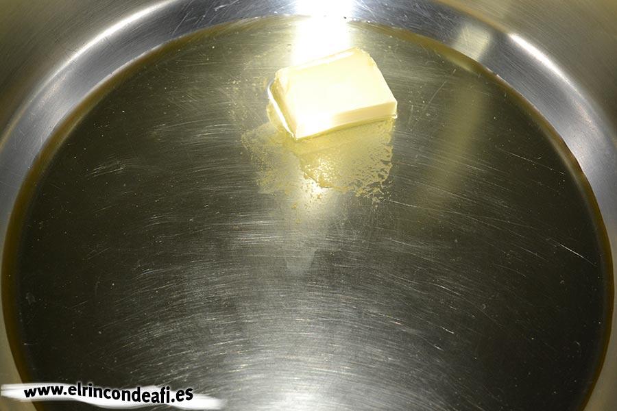 Crema de champiñones, fundir la mantequilla