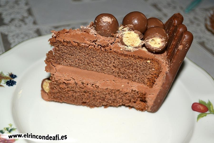 Fortaleza de chocolate, porción cortada