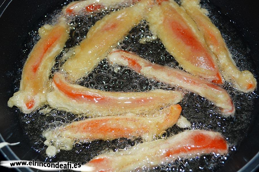 Verduras en tempura, freír dos minutos por cada cara
