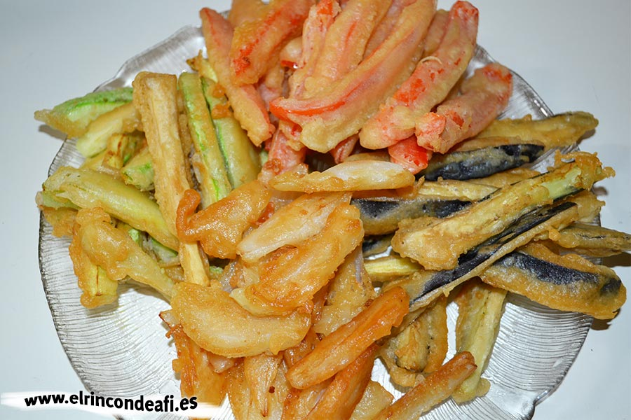 Verduras en tempura, sugerencia de presentación