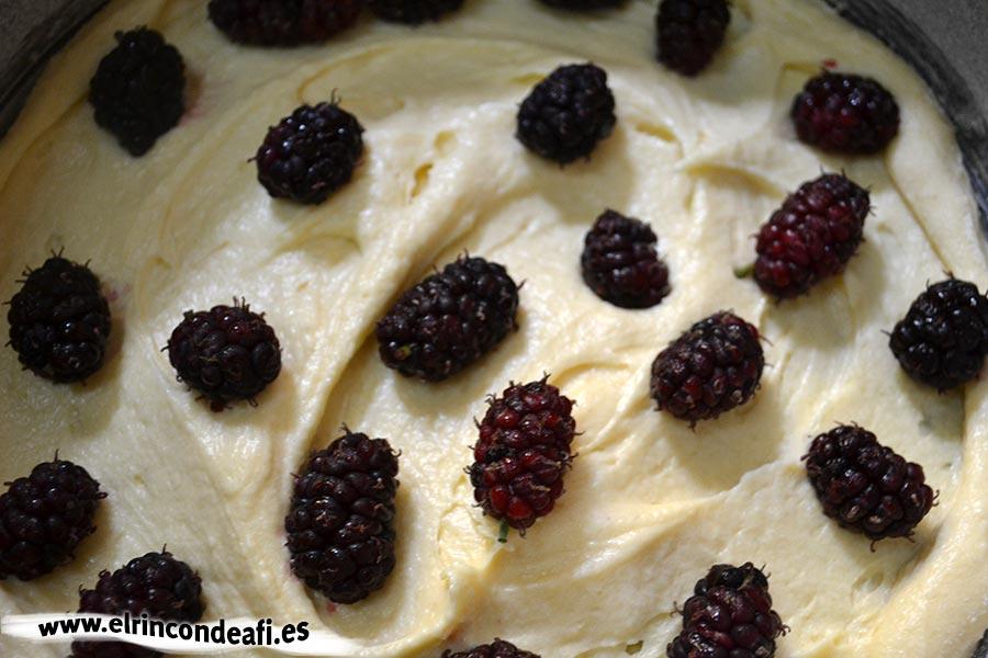 Pastel de queso y moras, poner una capa de masa y moras