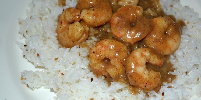 Wok de gambas al curry