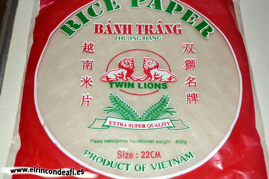 Rollitos tailandeses, obleas de papel de arroz