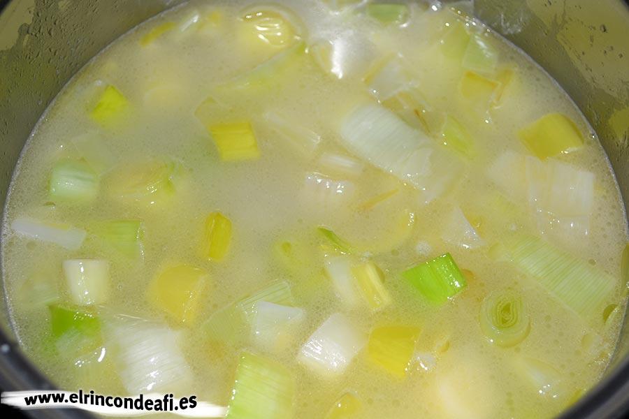Vichyssoise, cubrir con agua o caldo de verduras