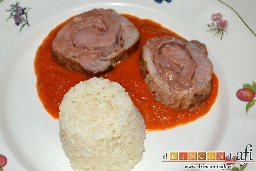 Solomillo de cerdo relleno con bacon y foie gras, sugerencia de presentación