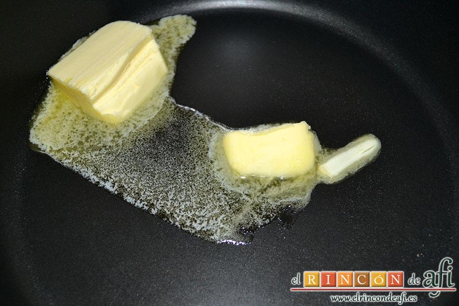 Tortitas de queso Ricotta y canela, poner a derretir en sartén la mantequilla