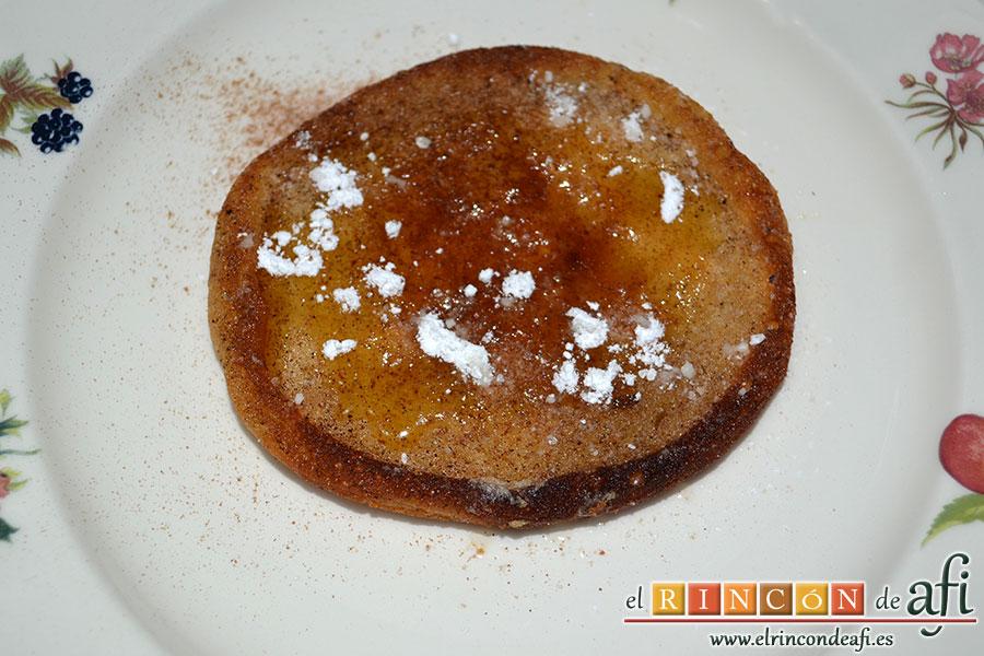 Tortitas de queso Ricotta y canela, sugerencia de presentación