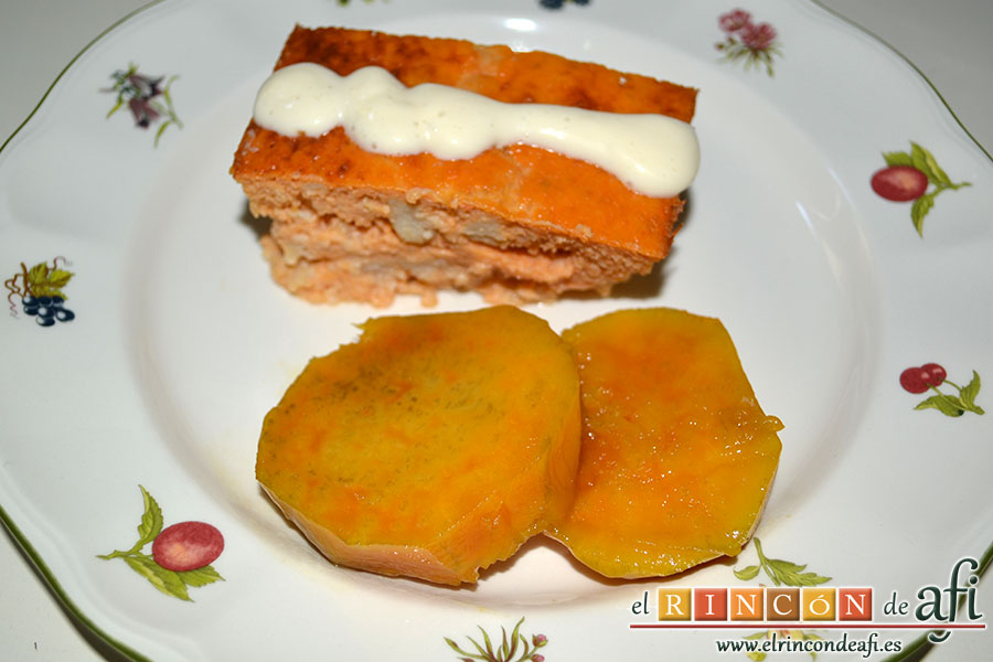 Pastel de pescado, cuando esté listo, sugerencia de presentación