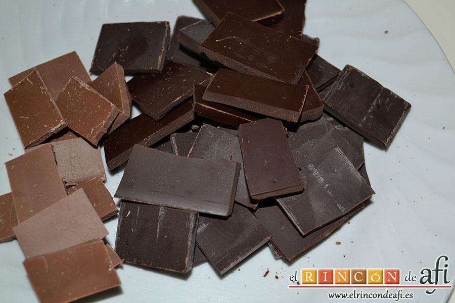 Mousse de chocolate, trocear el chocolate
