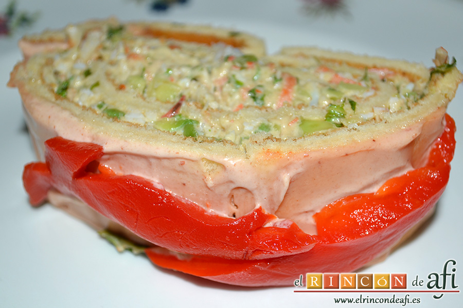Rollos de langostinos y palitos de cangrejo, servir