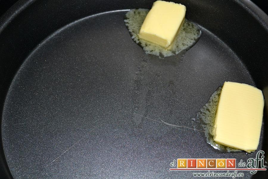 Tarta tatín, derretir la mantequilla