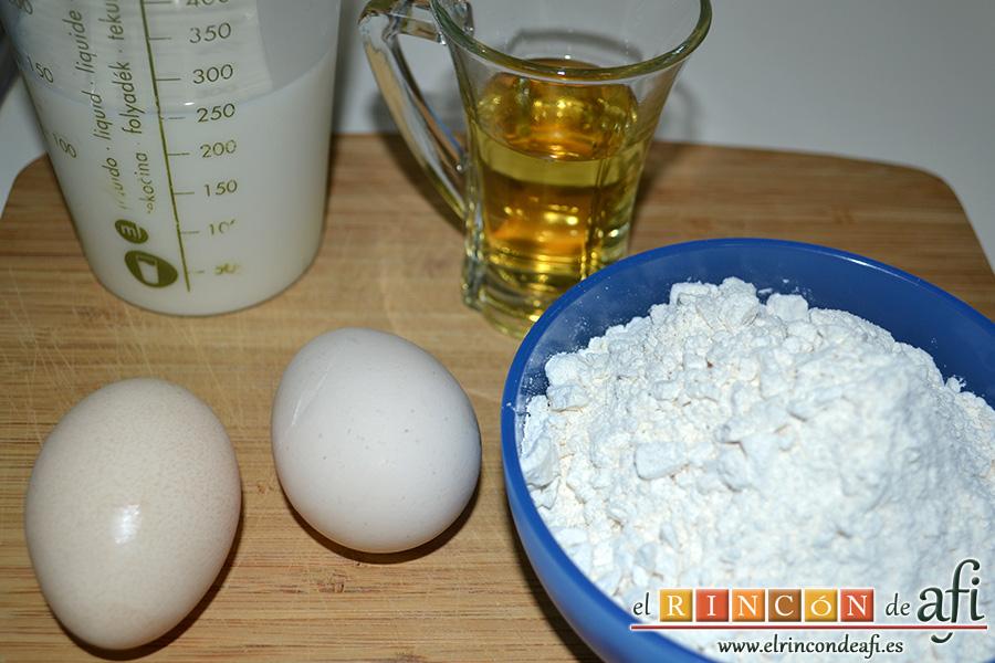 Crepes de fruta salteada con queso mascarpone, ingredientes para preparar las crepes