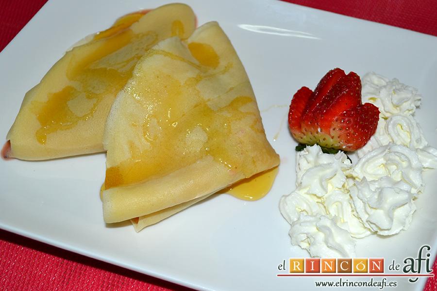 crepes-de-fruta-salteada-con-queso-Crepes de fruta salteada con queso mascarpone, sugerencia de presentación