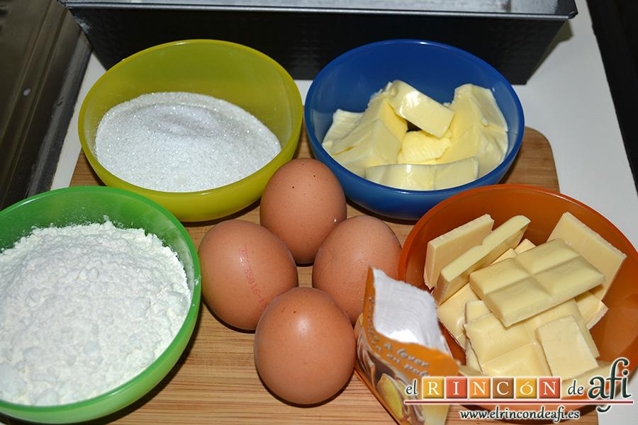 Bizcocho de chocolate blanco, preparar los ingredientes