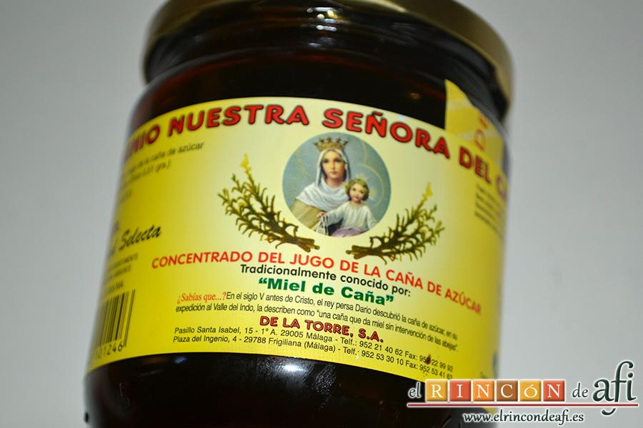 Berenjenas en tempura con miel de caña, acompañar con miel de caña