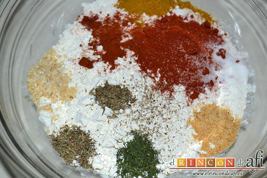 Pollo al estilo KFC (Kentucky Fried Chicken), poner en un bola la harina de tempura y las especias del marinado