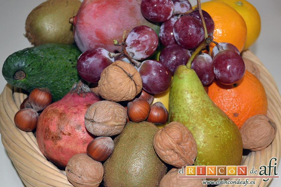 Ensalada otoñal, frutos para preparar la ensalada otoñal