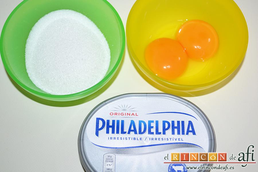 Brownie de chocolate con crema de queso, preparamos los ingredientes para la crema de queso
