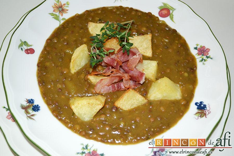 Lentejas al curry, sugerencia de presentación