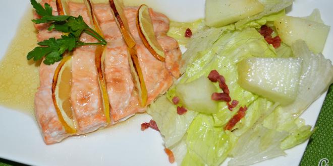 Salmón al horno con sirope de arce y limón