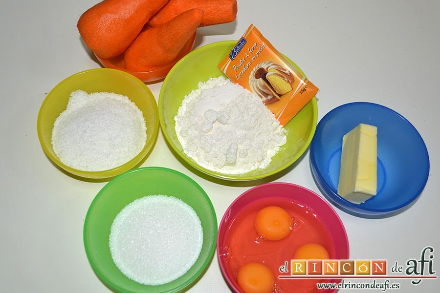 Tarta de zanahoria y coco, preparar los ingredientes