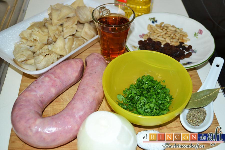 Butifarra con setas, preparar los ingredientes