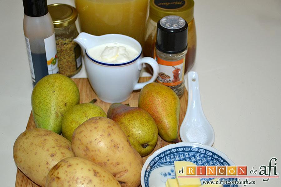 Crema de peras a la mostaza antigua, preparar los ingredientes