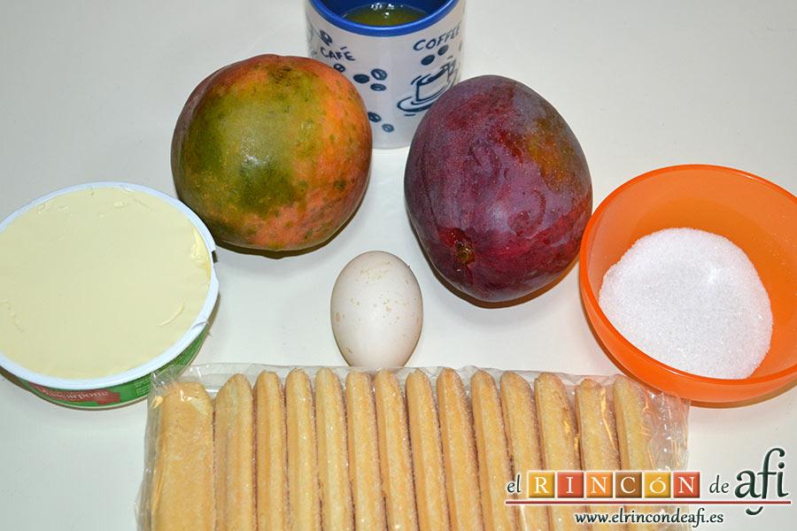 Tiramisú de mango, preparamos los ingredientes
