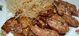 Wok de pollo con salsa teriyaki