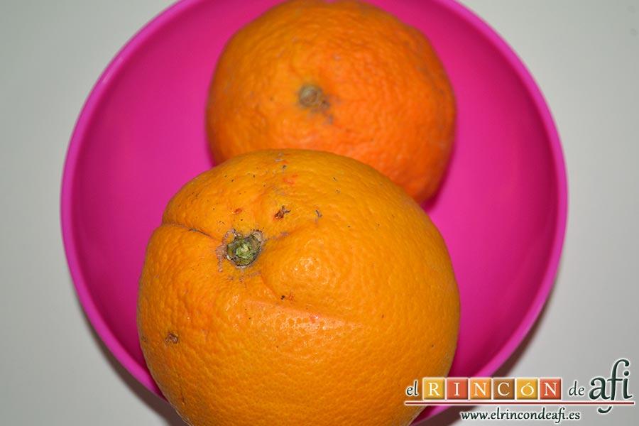 Batido de guayabo, queso y naranja, preparar las naranjas