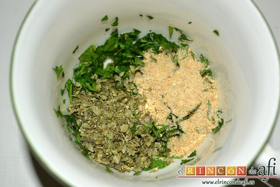 Cochifrito con papas brutas, añadimos una cucharadita de orégano y otra cucharadita de mostaza en polvo