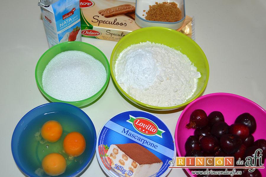 Bizcocho de cerezas con queso marcarpone, preparamos el resto de ingredientes para el bizcocho