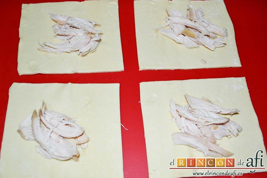 Pañuelos de hojaldre con jamón o pechuga, también podemos poner pechuga de pollo