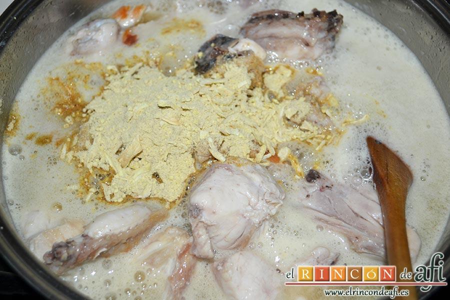 Pollo al cava rápido, añadimos el sobre de sopa de cebolla