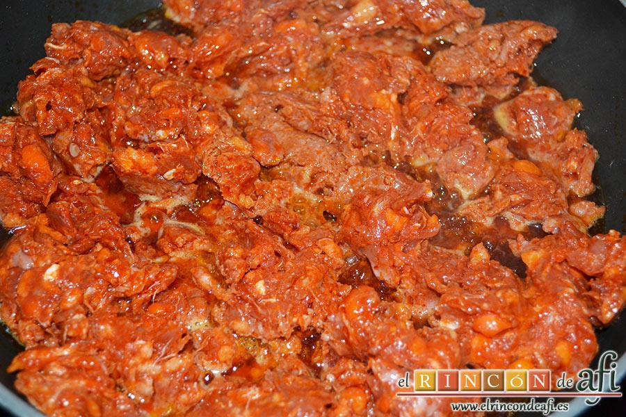 Sartén riojana, mientras se hace la carne...