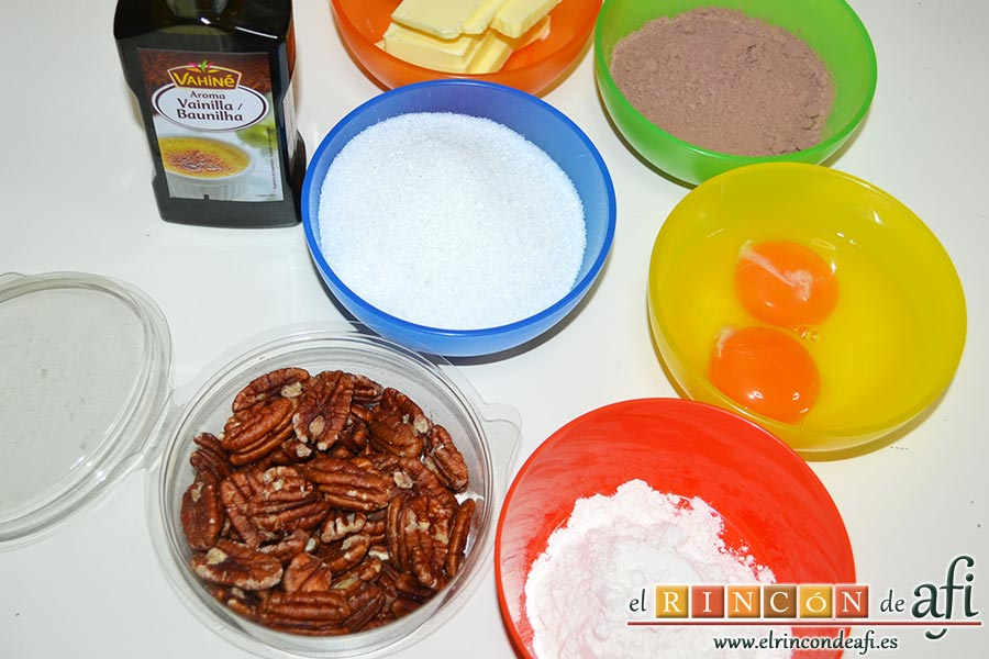 Brownie de nueces pecanas, preparamos los ingredientes