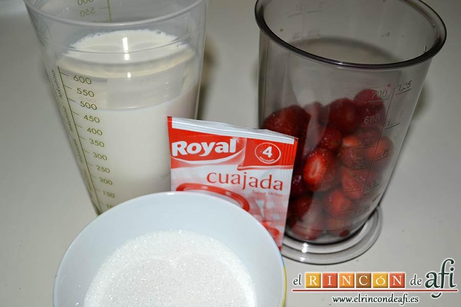 Cuajada de fresas, preparamos los ingredientes