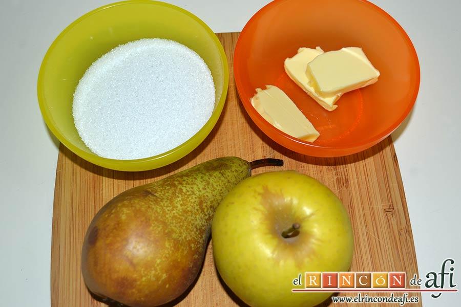 Saquitos de pera y manzana, preparar los ingredientes