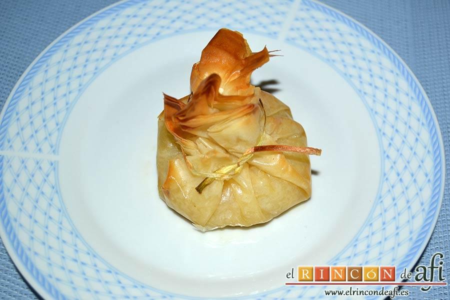 Saquitos de pera y manzana, sugerencia de presentación